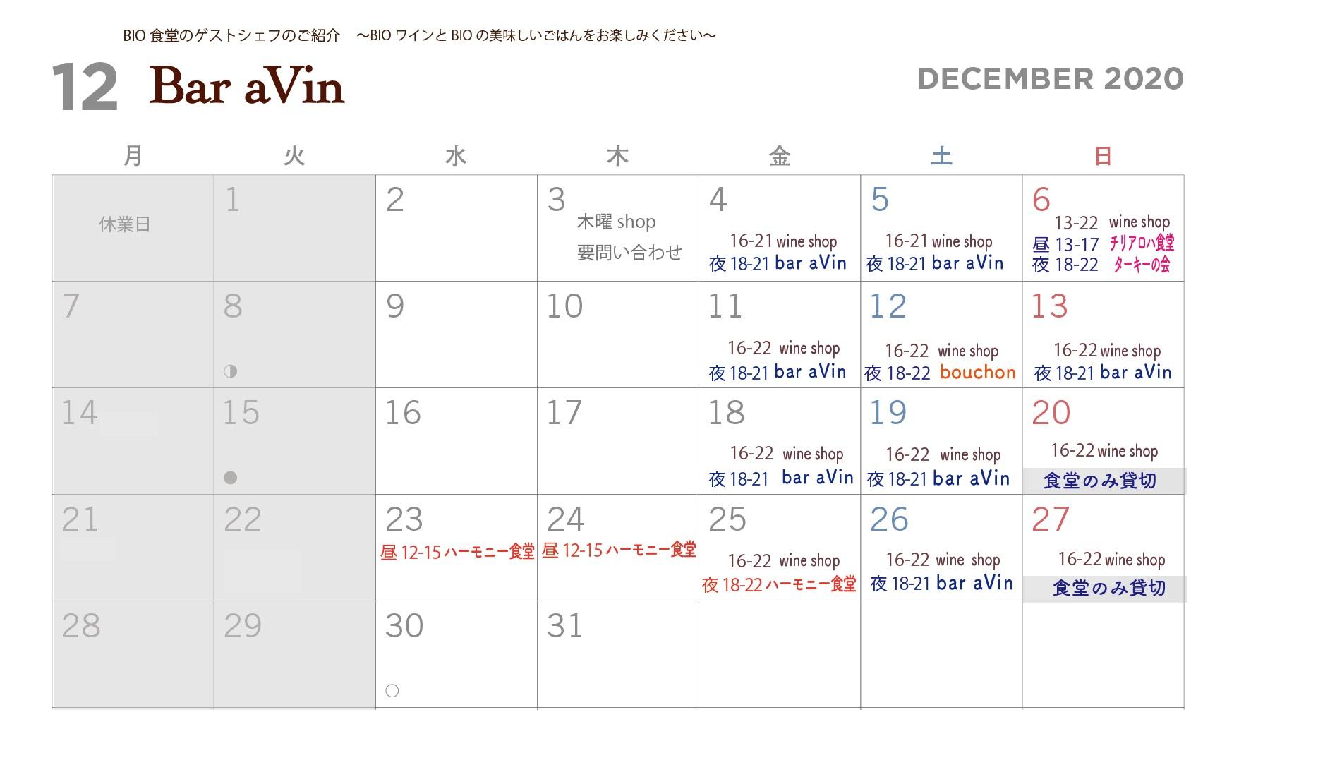 カレンダーaVin12月-2020